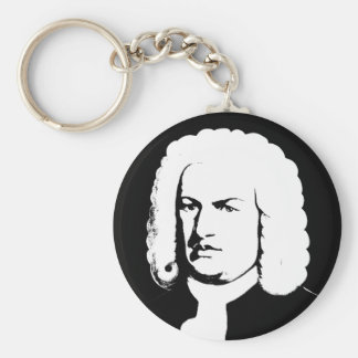 Johann Sebastian Bach abstractly in black and Key Ring