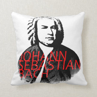 Johann Sebastian Bach portrait and red letters Cushion