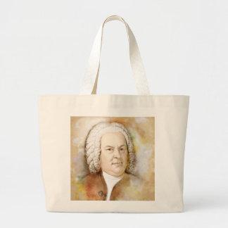 Johann Sebastian Bach portrait in beige Large Tote Bag