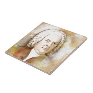 Johann Sebastian Bach portrait in beige Small Square Tile