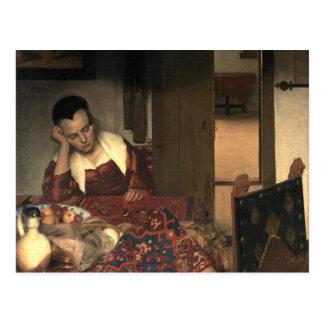 Johannes Vermeer A Maid Asleep Postcard
