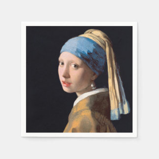 JOHANNES VERMEER - Girl with a pearl earring 1665 Disposable Serviette