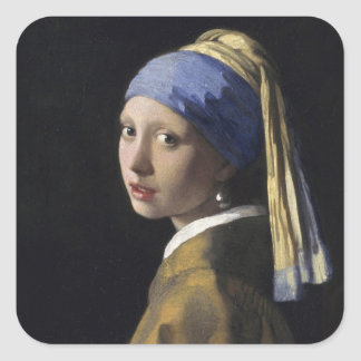 Johannes Vermeer - Girl with a Pearl Earring Square Sticker