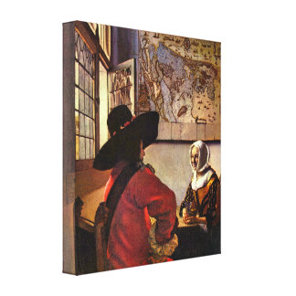 Johannes Vermeer - Soldier and girl smiling Gallery Wrapped Canvas