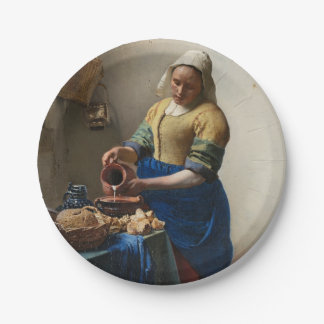 JOHANNES VERMEER - The milkmaid 1658 7 Inch Paper Plate