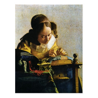 Johannes Vermeer's The Lacemaker (circa 1670) Postcard