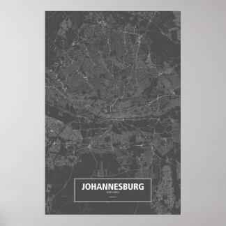 Johannesburg, South Africa (white on black) Poster
