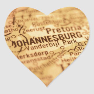 JOHANNESBURG Vintage Map Heart Sticker