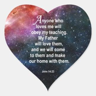 John 14:23 heart sticker
