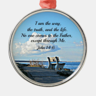 John 14:6  I am the way... Silver-Colored Round Decoration