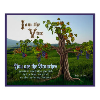 John 15: 5-8 Grape Vine Scripture Poster