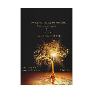John 15:5 I am the vine. Golden Tree. Canvas Print