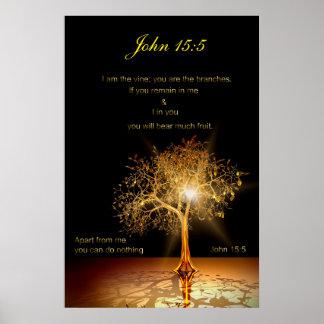 John 15:5 I am the vine. Golden Tree. Poster