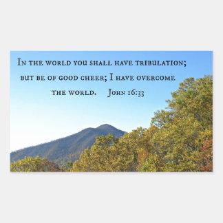 John 16:33 In the world ye shall have tribulation. Rectangular Sticker