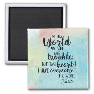 John 16:33 Watercolor Photo Magnet