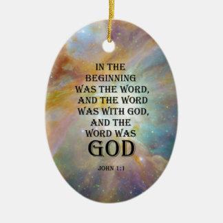 John 1:1 ceramic oval decoration