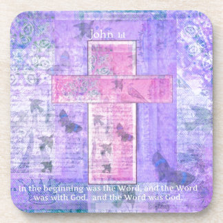 John 1:1  In the beginning was the Word Drink Coaster