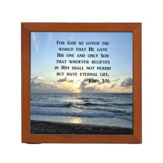 JOHN 3:16 BLUE SKIES SCRIPTURE PHOTO DESK ORGANISER
