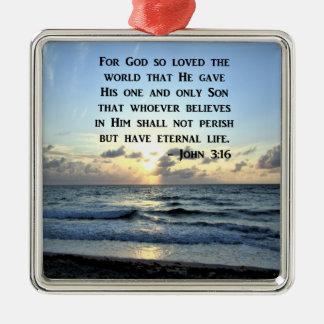 JOHN 3:16 BLUE SKIES SCRIPTURE PHOTO METAL ORNAMENT