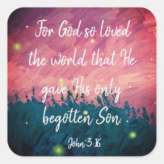 John 3:16 Christian Bible Scripture Stickers