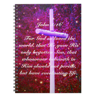 John 3:16 Christian Cross Firefly Notebook