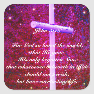 John 3:16 Christian Cross Firefly Sticker