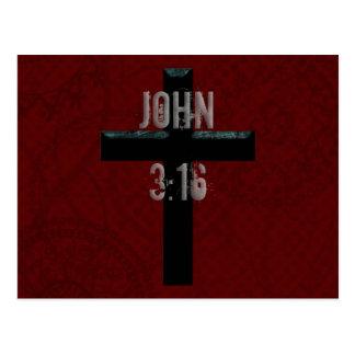 John 3:16 Christian Cross Postcard