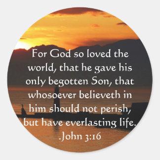 John 3:16 Christian Inspirational Quote Classic Round Sticker