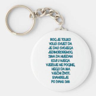 John 3:16 Croatian Basic Round Button Key Ring