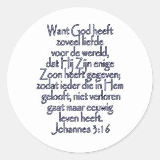 John 3:16 Dutch Classic Round Sticker