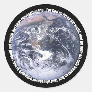 John 3:16-Earth-Sticker Classic Round Sticker