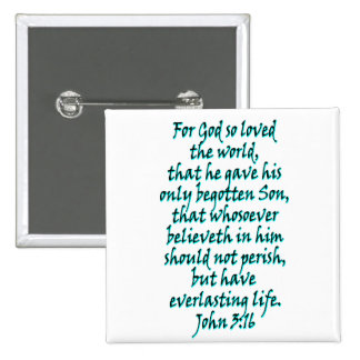John 3:16 English 15 Cm Square Badge