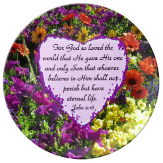 JOHN 3:16 FLORAL DECORATE PLATE