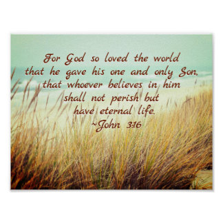 John 3:16 For God so loved the world, Bible Verse Poster