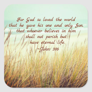 John 3:16 For God so loved the world, Bible Verse Square Sticker