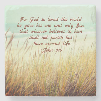 John 3:16 For God so loved the world, Bible Verse Stone Coaster