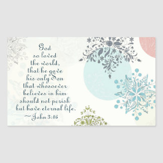 John 3:16 God so Loved the World, Bible Verse Rectangular Sticker