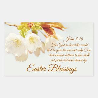 John 3:16 God so loved the world, Easter Rectangular Sticker