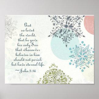 John 3:16 God so Loved the World, Vintage Design Poster