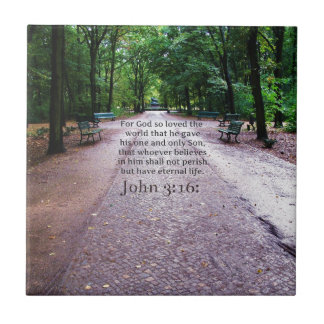 John 3:16: Inspirational Biblical quote NATURE Ceramic Tile