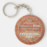John 3:16 KJV Everlasting Life Bible Verse Quote Keychains