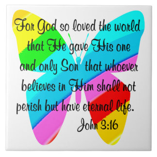 JOHN 3:16 RAINBOW BUTTERFLY LARGE SQUARE TILE