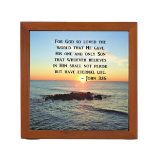 JOHN 3:16 SUNRISE ON THE OCEAN PHOTO DESK ORGANISER
