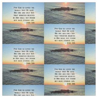 JOHN 3:16 SUNRISE ON THE OCEAN PHOTO FABRIC