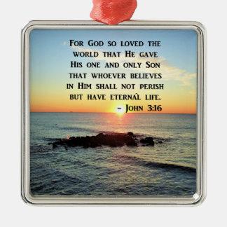 JOHN 3:16 SUNRISE ON THE OCEAN PHOTO METAL ORNAMENT