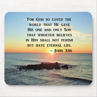 JOHN 3:16 SUNRISE ON THE OCEAN PHOTO MOUSE PAD