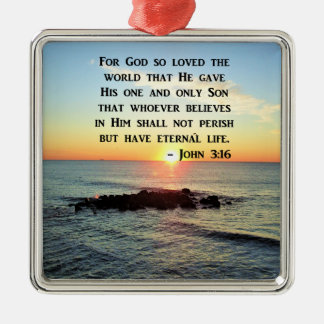 JOHN 3:16 SUNRISE ON THE OCEAN PHOTO Silver-Colored SQUARE DECORATION