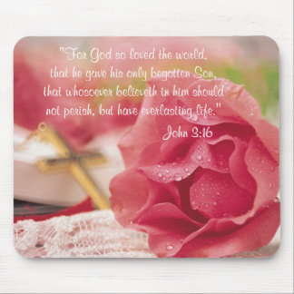 John 3:16 Version - Gold Cross & Pink Rose Mouse Pad