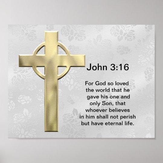 John 3:16 (white) poster
