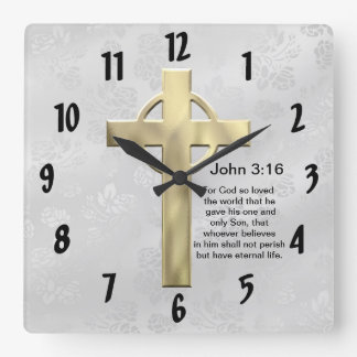 John 3:16 (white) square wall clock